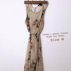 Creme + Blush Floral High Low Dress
